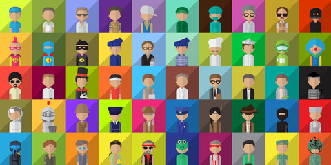 Flat People Icons, Different Occupation: Doctor, Police, Knight, Indian, Athlete, Professor, Astronaut, Waiter, Explorer, Painter On Mosaic Background - Vector Illustration, Graphic Design