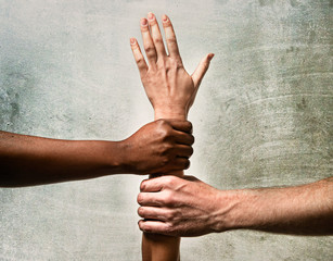 African American and Caucasian hands together world unity