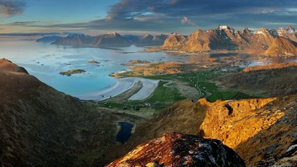 Wall Mural - Norway motion Landscape panorama with oceen, Lofoten