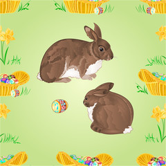 Seamless texture rabbits  and easter eggs vector