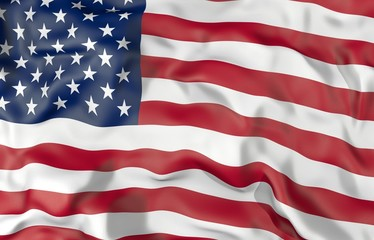 United States corrugated flag 3D illustration