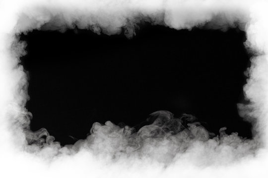 smoke cloud frame, isolated on black