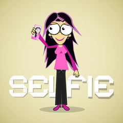 Selfie Photo - Girl or Woman With Cell Phone Vector