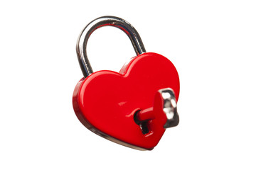 heart shaped lock, isolated on white