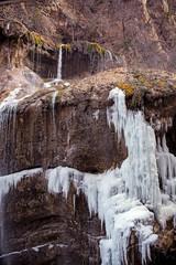 Frozen Chegem waterfalls in winter. Russia