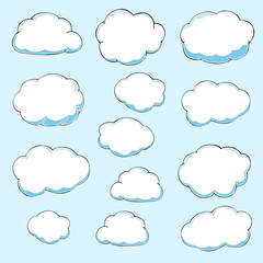 Cartoon clouds. Illustration on blue background. Vector