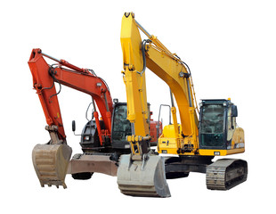 two modern excavators isolated on the white