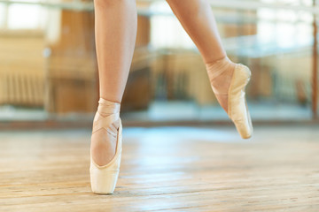 beautiful legs of  dancer in pointe