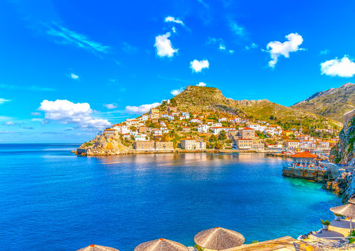 the pictorial port of Hydra island in Greece. HDR processed