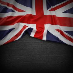 Union Jack flag on dark background