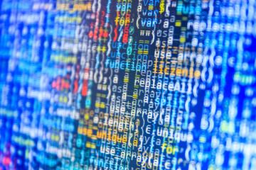Programming code script abstract screen of software developer.