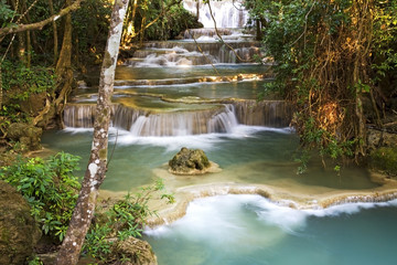 Waterfall blue in dense jungle