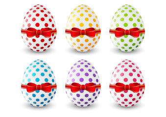 Set of Easter eggs on white