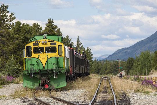 Train waits in siding at Carcross in Alaska