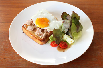 Fresh made Tuna brunch on wooden background