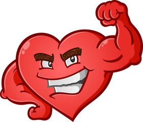 Heart Flexing Muscles Cartoon Character