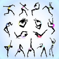 Set of female dance colored