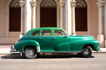 Green oldtimer car