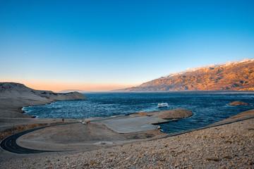 Croatian coast with ferry floating