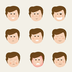 Face of boy cartoon with different facial expressions.