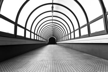 Pedestrian tunnel over a wide highway.
