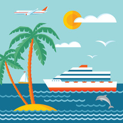 Travel cruise - vector concept illustration in flat style