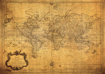 Foto auf Acrylglas Nordeuropa vintage map of the world 1778