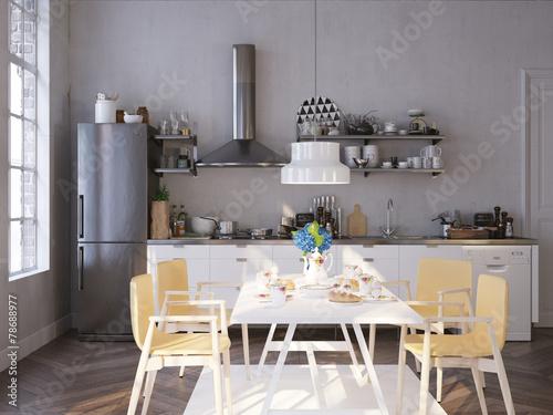 Küche und Esstisch in altem Apartment\