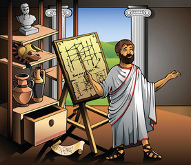 Ancient Greek scientist, represents his invention, vector