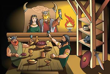 Vikings feast, vector illustration