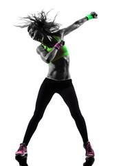 Wall Mural - woman exercising fitness zumba dancing silhouette