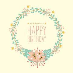 Happy Birthday card made with a leaf wreath.