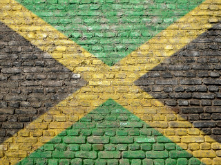 Jamaica flag painted on wall
