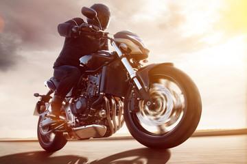 Fototapete - Motorbike at Sunset