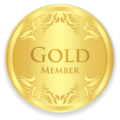 Gold member badge with golden vintage pattern