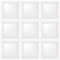 weißer Setzkasten mit leeren Fächern, Illustration