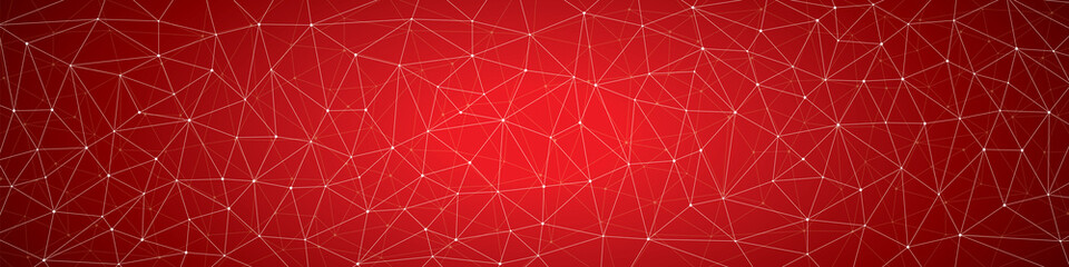 Abstract background, geometry, lines and points, red panorama