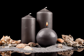 burning candles and decorations Sea