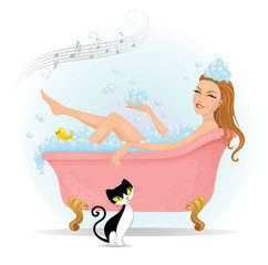 Beautiful woman taking a bath in bathtub.