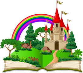 fairy castle appearing from the old book