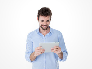 one modern man enjoying his tablet