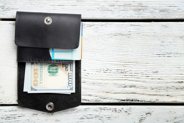 Hand made leather man wallet with money