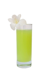 Glass of guava juice with white plumeria