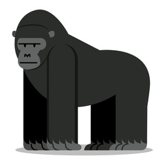 Cartoon Gorilla Isolated On Blank Background