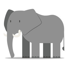 Cartoon Elephant Isolated On Blank Backgrond