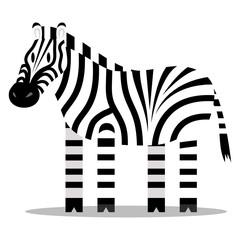 Cartoon Zebra Isolated On Blank Background