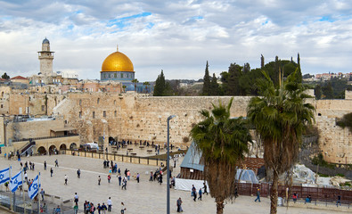 Western Wall also known as Wailing Wall or Kotel in Jerusalem