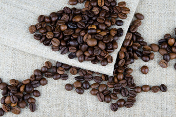 coffee beans on a gray background