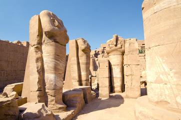Statues of pharaoh in temple of Amun (Karnak, Luxor, Egypt)