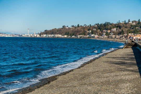 Alki Beach In West Seattle, Washington